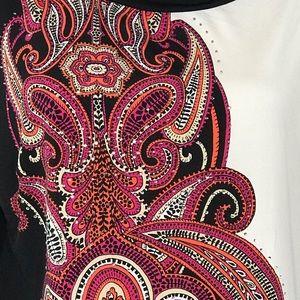JM Collection Tops - JM Collection Top 3/4 Sleeve Embellished Floral